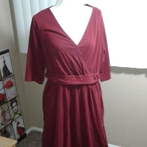 EUC EShakti Burgundy Long Dress SZ 16